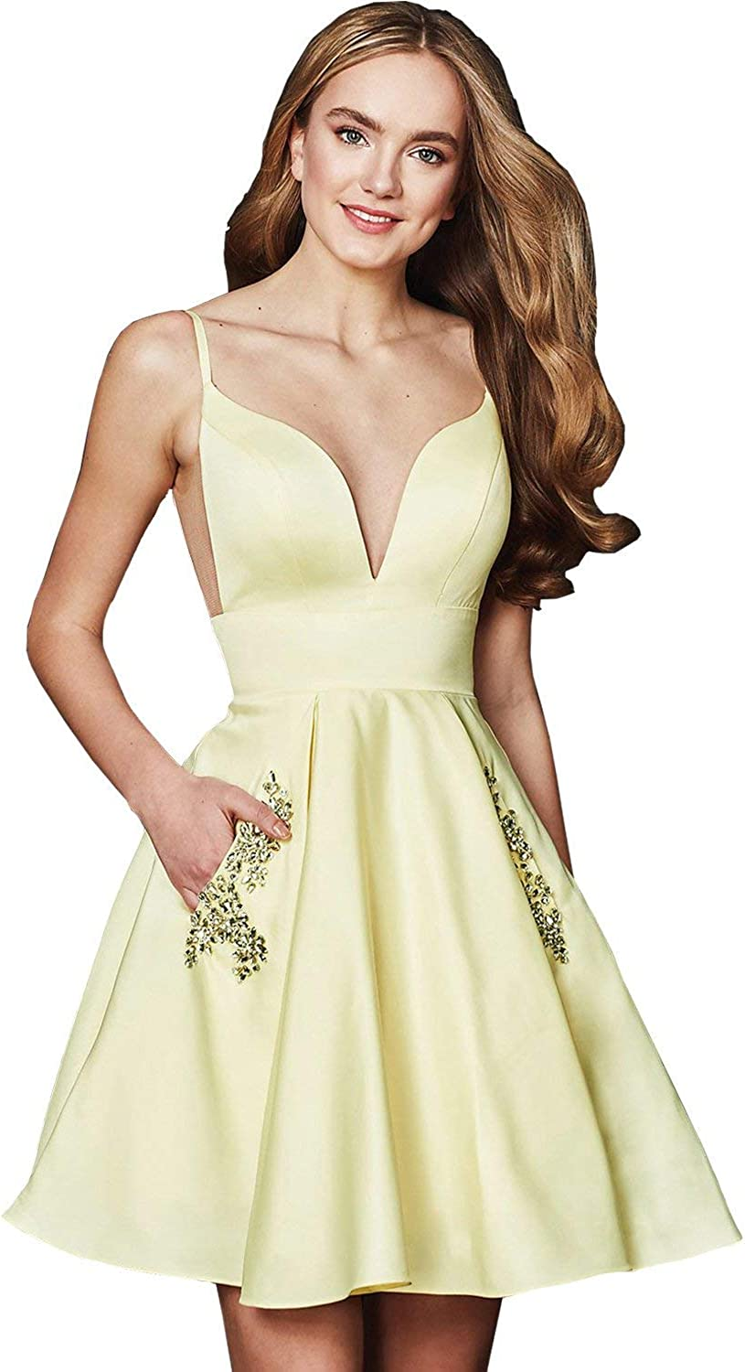 ANFF Women's Prom Dress Short Formal Gowns Homecoming Dresses Pockets 2018