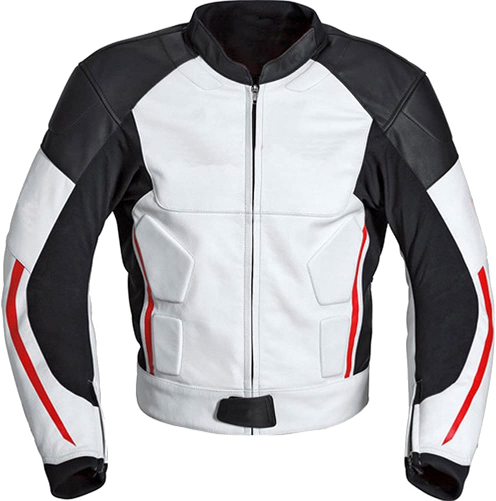 SleekHides Men's Safari Genuine Leather Black n White Motorbike Jacket