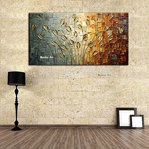 CYSHYH Handgemalte Goldene Blume Baum Abstrakte Moderne Wandkunst Gold Ölgemälde Leinwand Bild Wanddekor Für Hauptdekoration 50X100 cm