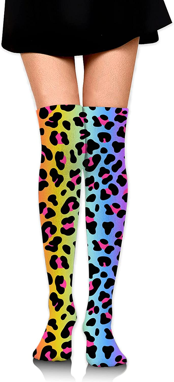 Rainbow Leopard Women Girl Thigh High Socks Over The Knee High Warm Stocking Boot Long Socks