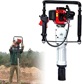 Pile Driver Hammer, 2 Stroke 52CC Gas Powered T Post Driver Hammer Drills Engine Air Cooling Single Cylinder Gasoline Petrol Garden Fencing Tool Machine with 2 Post Driving Head