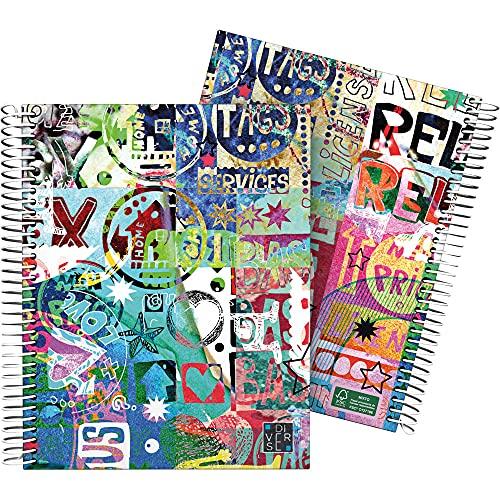Grafoplás 16512618. Cuaderno A5, Espiral, Tapa Dura Cartón Forrado, Cuadricula 5x5, Certificado FSC, Colección Diverse, Relax