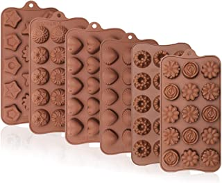 Webake Chocolate Molds Candy Mold Set of 6 Silicone Baking Molds For Hard Candy, Jello, Keto Fat Bombs, Crayons, Cake Deco...
