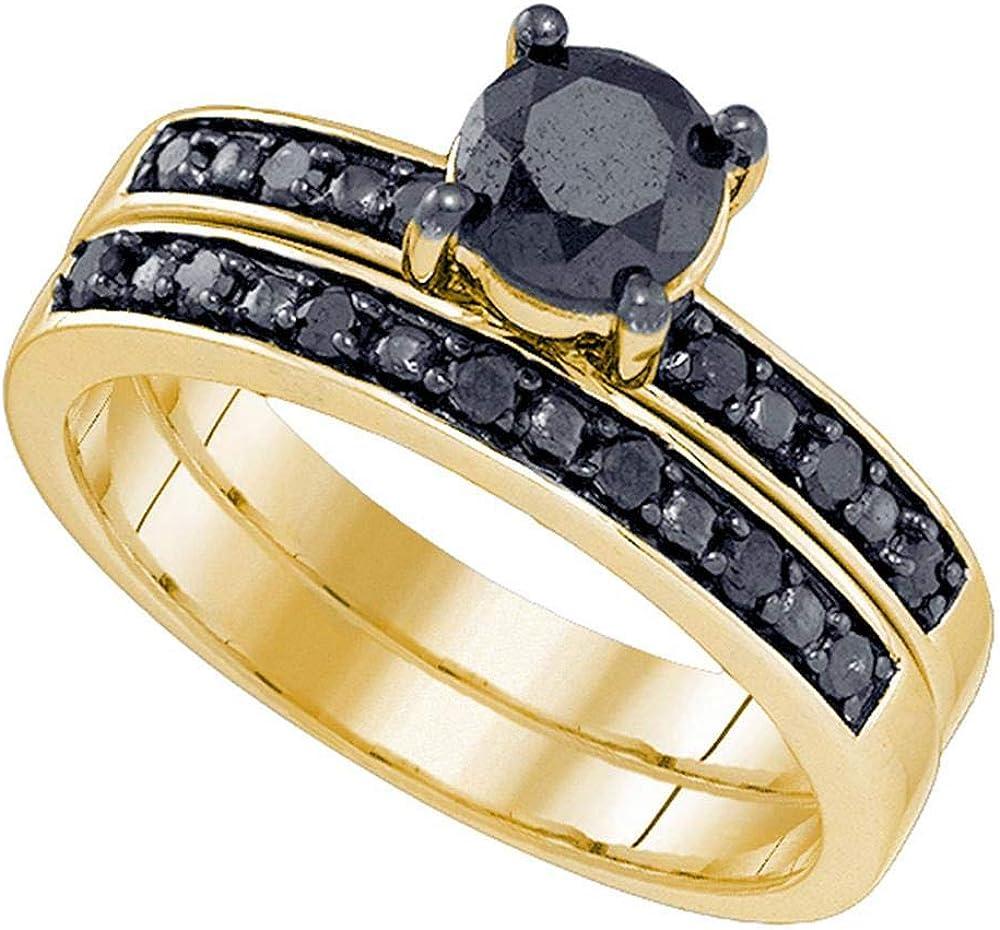 10kt New Orleans Mall Yellow Gold Womens Round Brida 2021 model Black Diamond Enhanced Color
