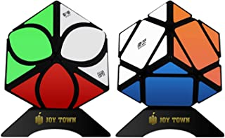 JoyTown Speed Cube Set of 2, Mofangge Ivy Cube Puzzle and Qiqi Skewb Cube Twisty Puzzle, Smooth 3x3 Bundle Pack Speedcubing with Bonus Stands, Great Gift Idea for Kids Black