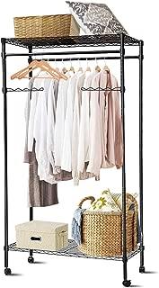 Tangkula Metal Clothing Garment Rack, Mobile Garment Hanging, Rolling Closet Organizer, Rolling Clothes Rack (Rack with Wheel)