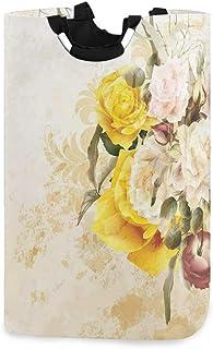 ZOMOY Grand Organiser Paniers pour Vêtements Stockage,Bouquet de Fleurs Florissant pétales de Rose botanique Shabby Chic D...