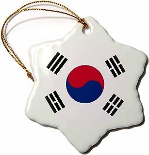 3dRose orn_158435_1 Flag of South Korea-Korean White Red Blue Taegeuk Circle Black Trigrams-Snowflake Ornament, Porcelain, 3-Inch