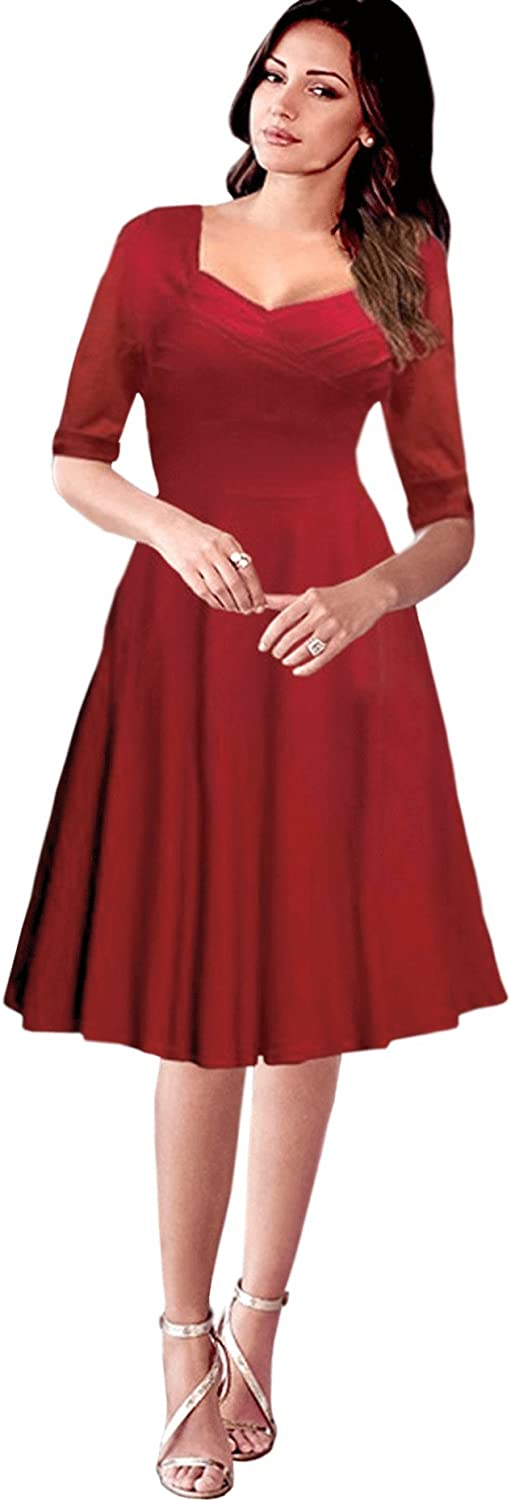 Unomatch Women Halter Style Knee Length Waist Fitted Retro Dress Red
