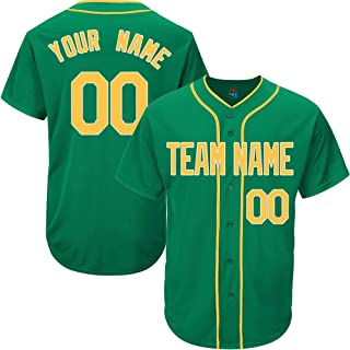 Kelly Green Custom Baseball Jersey for Men Women Youth Authentic Embroidered Player Name & Numbers S-5XL