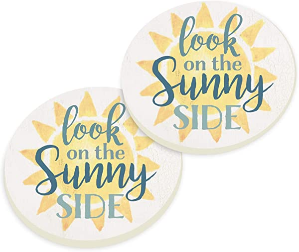 The Sunny Side Sunshine Yellow 3 X 3 Absorbent Ceramic Car Coaster Pack Of 2