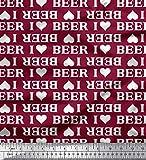 Soimoi Rot Viskose Chiffon Stoff ich Liebe Bier Text