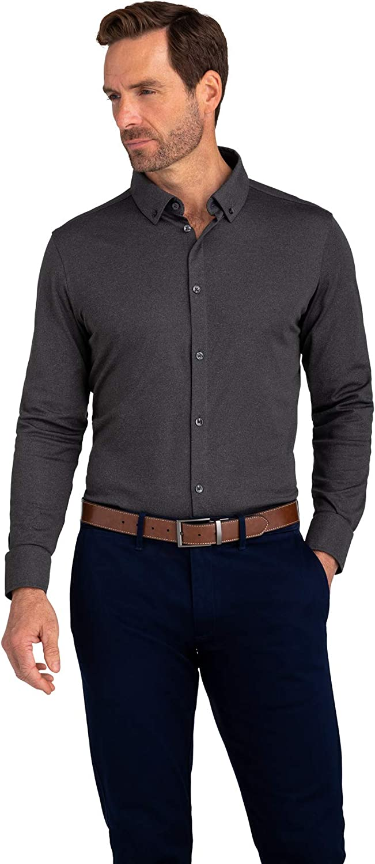 Mizzen + Main Men's Cunningham Dress Shirt - Pique Knit Button Down Shirt, Classic Fit