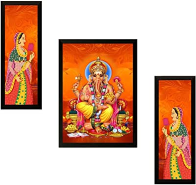 SAF Diwali Gift UV Textured Ganesh Print Framed Painting Set of 3 for Home Decoration – Size 35 x 2 x 50 cm PhotoPS7523