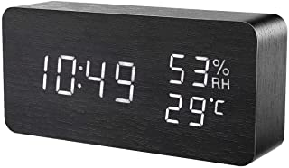 AMIR Alarm Clock, Wooden Digital Multi-Function Modern Cube LED Light, Smart Voice-Activated with 3 Alarm Sounds, Display ...