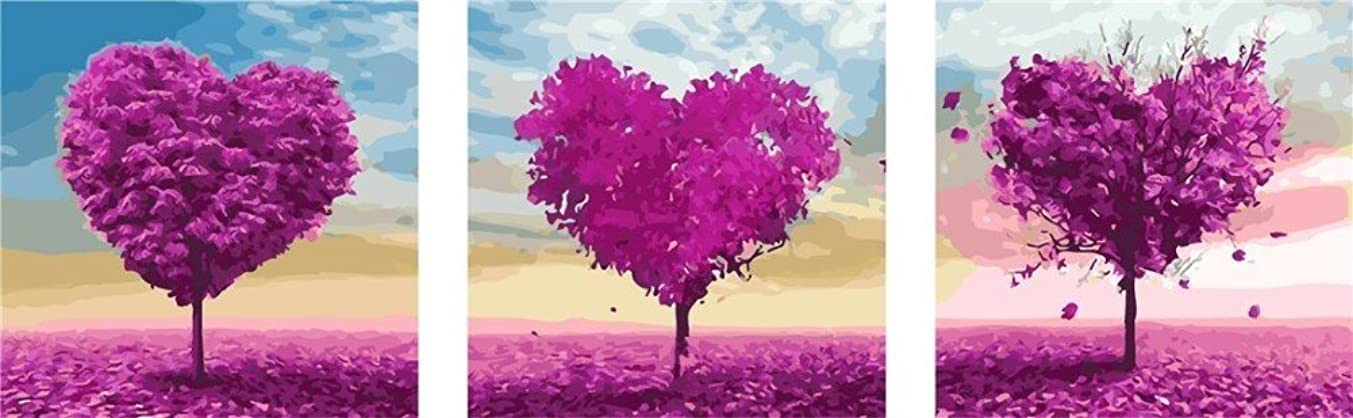 YEESAM Art New Paint by Numbers for Adults 3 Piece Pack Panel - Romantic Love Hearts Trees 20x20 inch Linen Canvas - DIY Painting Three Pieces Multipack Wall Art (Without Frame)