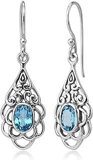 925 Sterling Silver Open Filigree Flower Blue Topaz Gemstone Teardrop Dangle Hook Earrings 1.5