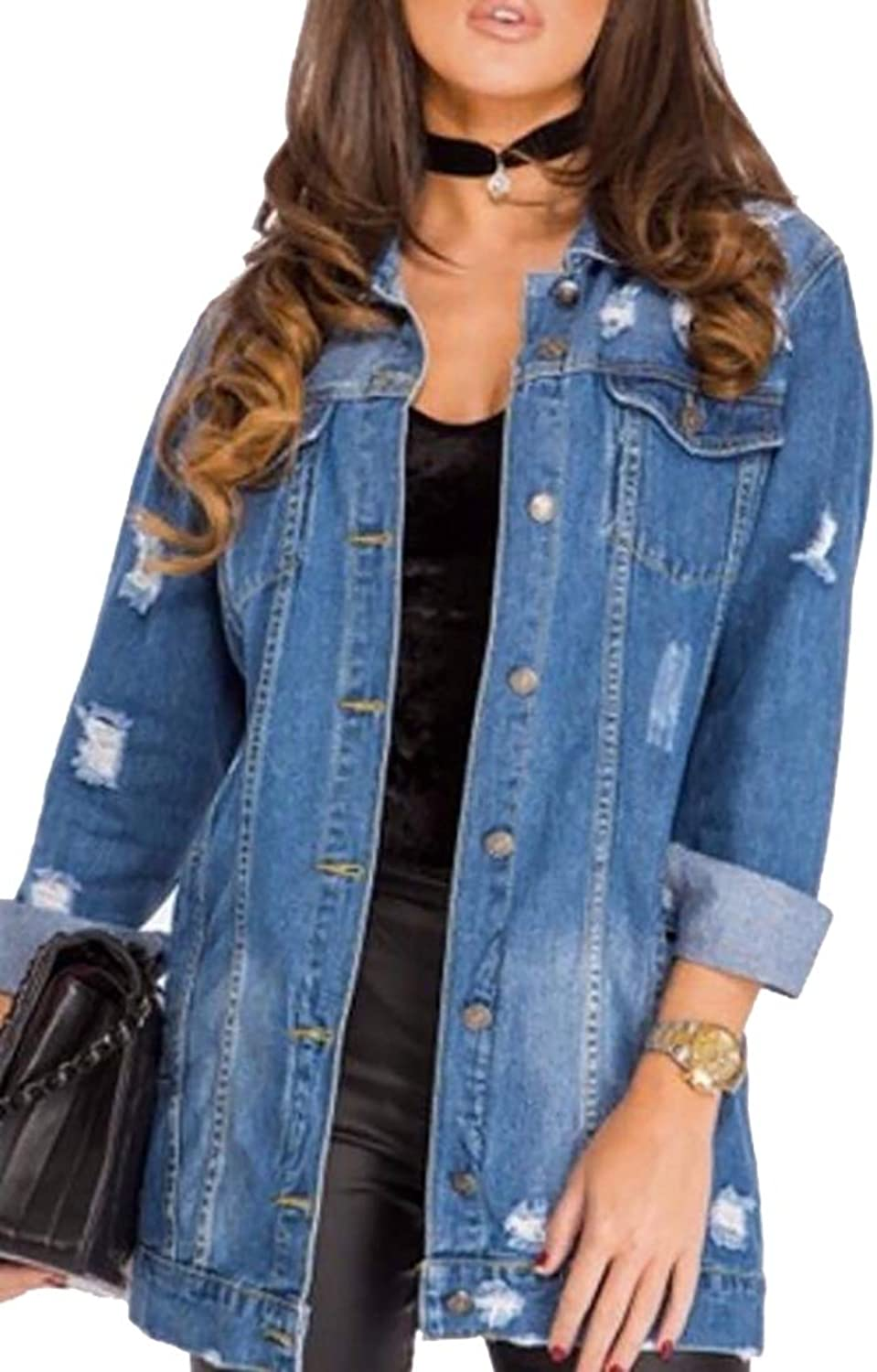 Women's Washed Distressed Boyfriend Washed Distressed Jean Denim Jacket