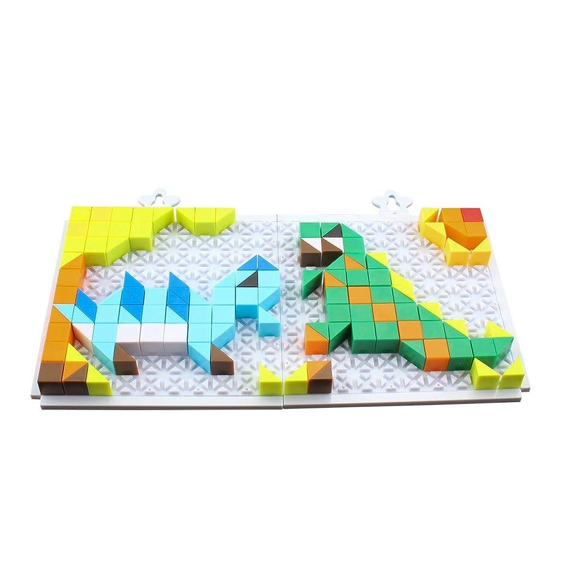 Binory Classic Plastic Pattern Puzzle Bricks Set, DIY Geometric Manipulative Shape Building Blocks,Multi-Color Montessori Early Educational Toy Birthday Gift for Preschool Toddlers