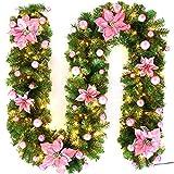 PopHMN Guirnaldas de Luces,Coronas de 2,7 m con Luces LED iluminadas, decoración de escaleras para Chimenea, Guirnalda Luminosa con Pilas para decoración de Festivales navideños (Rosado)