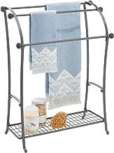 mDesign Large Freestanding Towel Rack Holder with Storage Shelf - 3 Tier Metal Organizer for Bath/Hand Towels, Washcloths,...