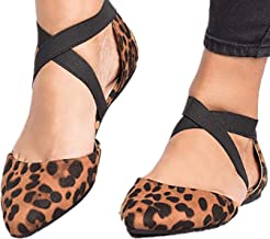 Fainosmny Women Shoes Flat Single Shose Belt Sandals Ladies Fashion Leopard Shoes Pointed Toe Casual Sandals