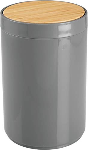 mDesign Plastic Round Trash Can Small Wastebasket, Garbage Bin Container with Swing-Close Lid, Kitchen, Bathroom, Hom...