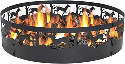 wholesale Sunnydaze Running Horse Fire Pit - 36 Inch Wood Burning Campfire Ring - discount Large Round Outdoor Fireplace - Heavy-Duty 0.91mm Thick Metal Firepit - High outlet online sale Temperature Paint online sale