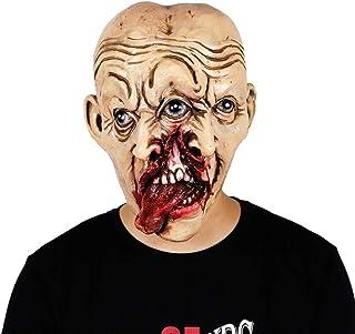 ZJMIYJ Halloweenmask, halloween dubbel ansiktsmask cosplay tre ögon två näsor skrämmande mask halloween latex mask fest mask