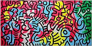 手作り 油絵 Keith Haring 無題 - 200X100 cm 抽象画 キャンバス 木枠なしUntitled 1987_1 複製画 ポスターポップアート グラフィティアート アート