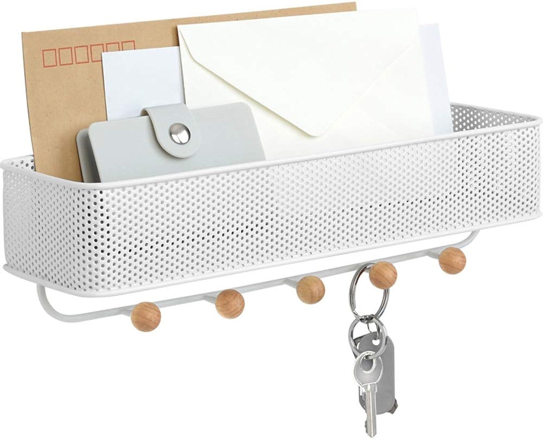 Tingting-Wall Mounted Coat Rack Steel Mesh Storage Rack 5 Solid Wood Hooks Entrance Bedroom Living Room Bathroom Kitchen (color   White, Size   31.8  9.5  9.5cm)