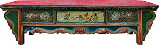 Chinese Vintage Floral Graphic Low Altar Shrine Offer Table Acs2342