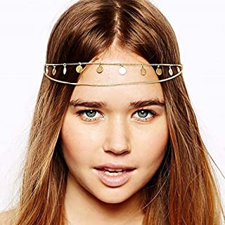 Fdesigner Layered Coins Head Chain Boho Gold Headband Decorative Hair Jewelry Wedding Headpieces for Women and Girls