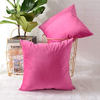 MERNETTE Pack of 2, Velvet Soft Decorative Square Throw Pillow Cover Cushion Covers..