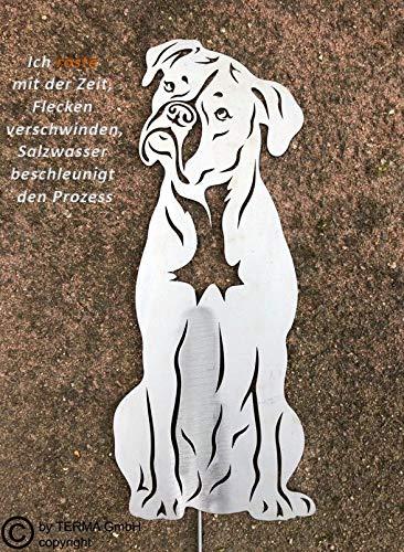 Terma Stahldesign Boxer höhe 30 cm, Edelrost Hund, Rostfigur, Gartenfigur, Rost Figur