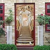 3D Vinilos Puerta Etiqueta Autoadhesiva Arte Moderno DIY Extraíble Decorativo PVC Baño Cuarto Mural Impermeable Puertas Interiores Decoración.Escalera al cielo 77x200cm