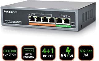 6 Port Fast Unmanaged Network PoE Switch, 4 Ports PoE Switch and 2 Ports Uplink, 65W PoE Budget, Extend Up to 820ft, Metal Desktop and Wall Mountable Design, IEEE 802.3af/at