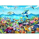 HUADADA 1000 Piece Puzzles for Adults Ocean Scene with Fish Coral Dolphins a Jigsaw Puzzle for Adults and Kids 1000 Pieces Cool Undersea Colorful Nature Jigsaw Puzzles DIY Toys (27.6'x 19.7')