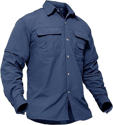 TACVASEN Hombres Secado rápido Protección UV Manga Convertible Camisa