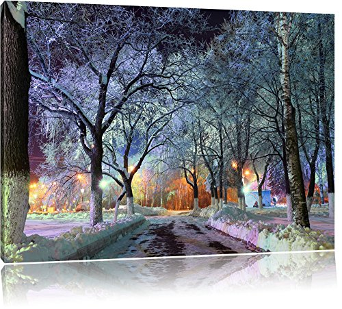 Baumallee im Winter, Format: 120x80 auf Leinwand, XXL riesige Bilder fertig gerahmt mit Keilrahmen, Kunstdruck auf Wandbild mit Rahmen, günstiger als Gemälde oder Ölbild, kein Poster oder Plakat