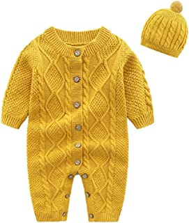 Toddler Baby Girls Knit Romper Long Sleeve Sweater Jumpsuit Hoodie Button Bodysuit Playsuit Outfit Clothes