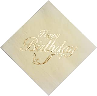 Gold Foil Happy Birthday Printed Napkins - Set of 50 Lunch Party Napkin for B-Day Celebration - Dining Table Decoration for Home Parties, Catering | 6.5 x 6.5 Inches,Ivory Sheets