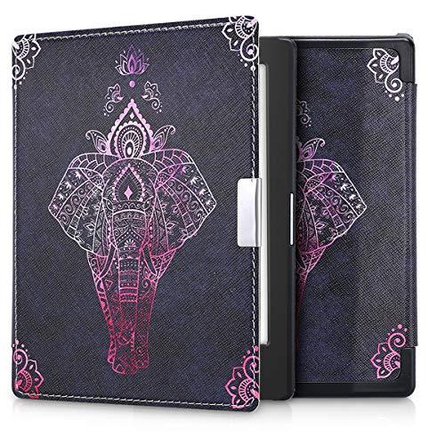 kwmobile Klapphülle kompatibel mit Kobo Aura Edition 1 - Hülle eReader - Elefant Zeichnung Pink Anthrazit