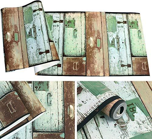 Retro Nostalgische ladekast antieke houtnerf PVC behang, restaurant bar kleding winkel Cafe industriële stijl behang A