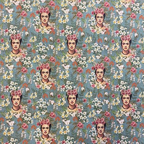 Kt KILOtela Tela por Metros de Patchwork - Estampación Digital - 100% algodón - 140 cm Ancho - Largo a elección de 50 en 50 cm   Frida Kahlo, Flores - Verde, Blanco
