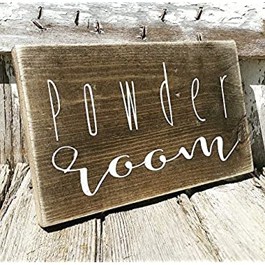 Powder Room Wood Sign - Farmhouse Bathroom Decor - Whitewash Country Bath Decor