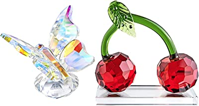 H&D HYALINE & DORA Crystal Butterfly Figurine with Red Cherry Figurine Collection Paperweights,Gift Boxed