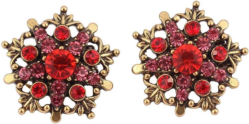 HAPPYAN Vintage Gold Color Flower Pentagram shape Clip on Earrings No Pierced for Women Charm Ear Clip Jewelry Gift