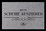Interluxe SCHMUTZMATTE Fußmatte Bitte Schuhe AUSZIEHEN [ 3 ] Eingang Geschenk Spruch Hellgrau