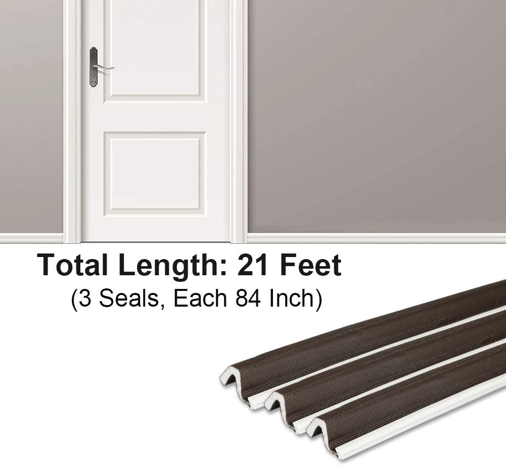 PU Foam Kerf Weather Stripping for Door Insulation V Strip Kerf Door Seal Brown 1 Set 9//16 W X 84 L X 3 Pcs Total 21 Feet